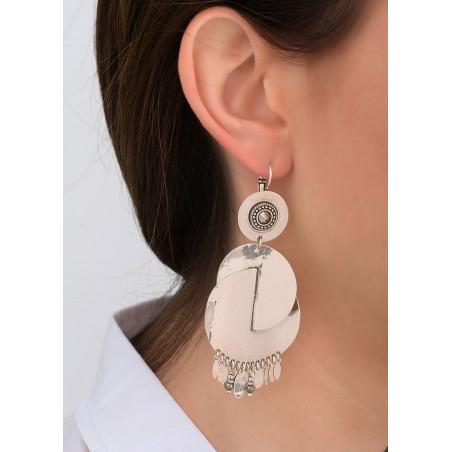 Boucles d'oreilles dormeuses féminines métal et cristal | argenté83945