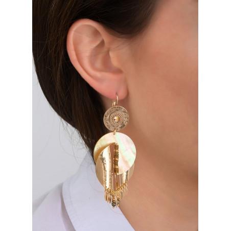 Boucles d'oreilles dormeuses raffinées métal et nacre   jaune83950
