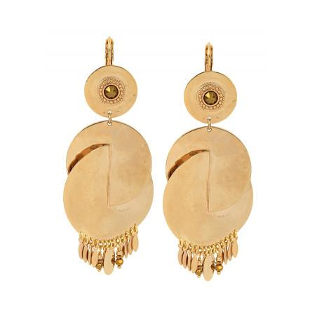 Boucles d'oreilles dormeuses glamour métal et cristal | doré