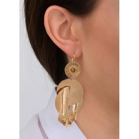 Boucles d'oreilles dormeuses glamour métal et cristal | doré83955
