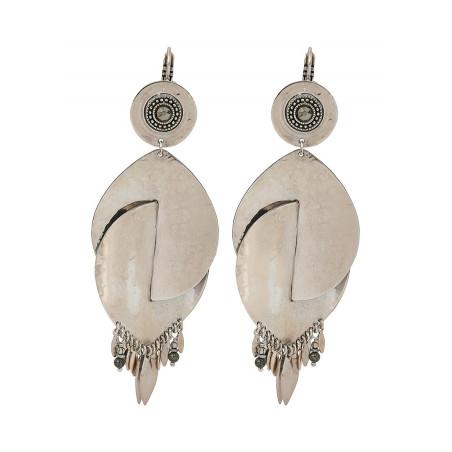 Boucles d'oreilles dormeuses modernes métal et hématite   argenté