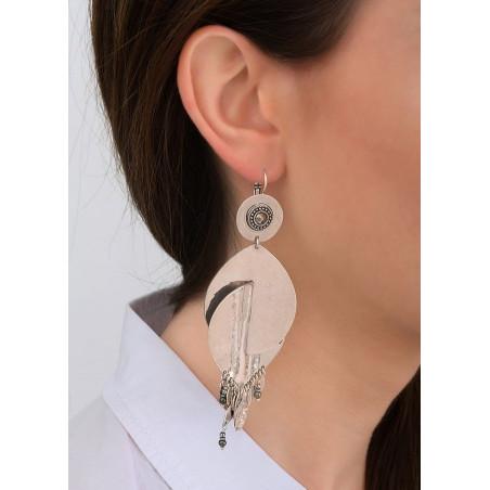 Boucles d'oreilles dormeuses modernes métal et hématite   argenté83975