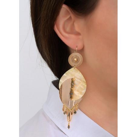 Boucles d'oreilles dormeuses lumineuses métal et cristal | jaune83980