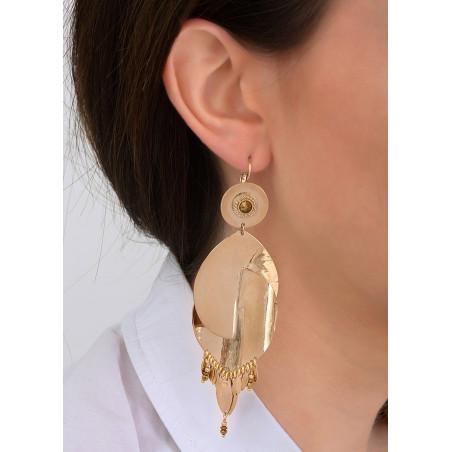 Boucles d'oreilles dormeuses mode métal et cristal | doré83985