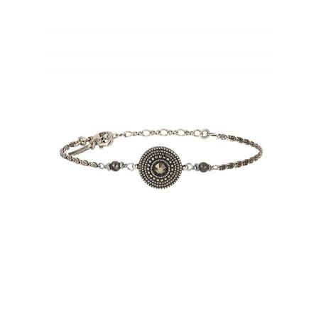 Bracelet souple raffiné métal et cristal | argenté