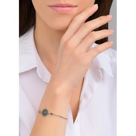 Bracelet souple raffiné métal et cristal | argenté84005