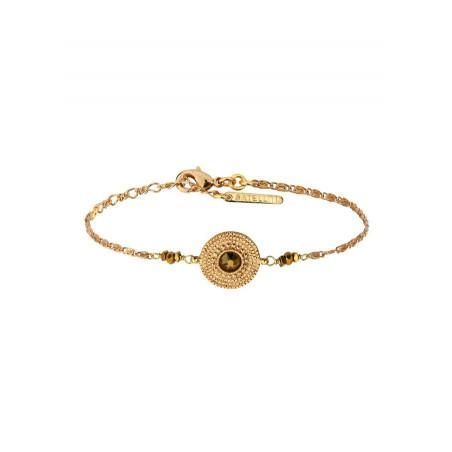 Bracelet souple glamour métal et cristal | doré