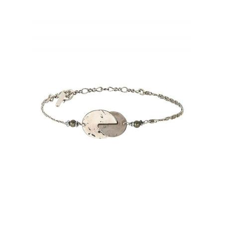 Bracelet souple arty métal et hématite | argenté