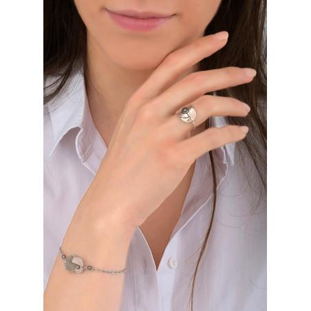 Bracelet souple arty métal et hématite | argenté84020