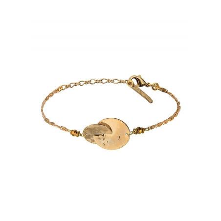 Bracelet souple solaire métal et hématite | doré