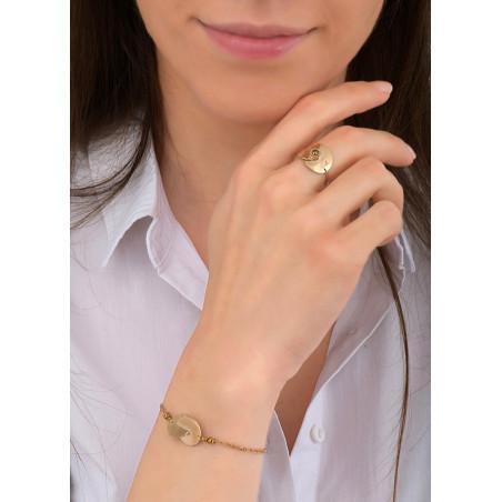 Bracelet souple solaire métal et hématite | doré84025