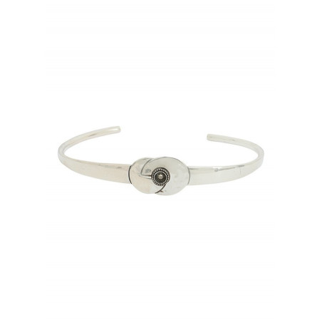 Bracelet jonc ethnique métal et cristal | argenté