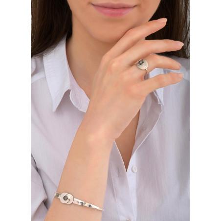 Bracelet jonc ethnique métal et cristal | argenté84030