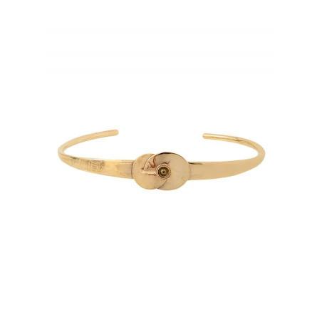 Bracelet jonc féminin métal et cristal | doré