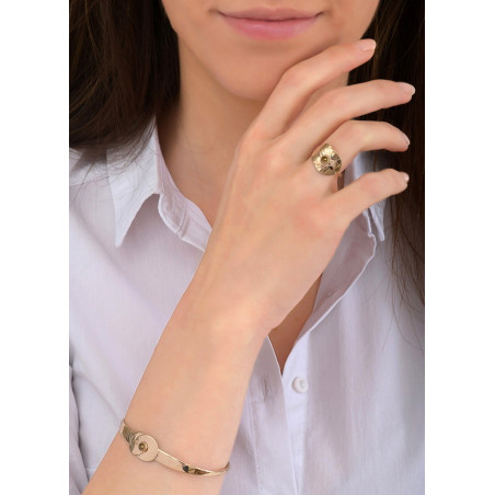 Bracelet jonc féminin métal et cristal | doré84035