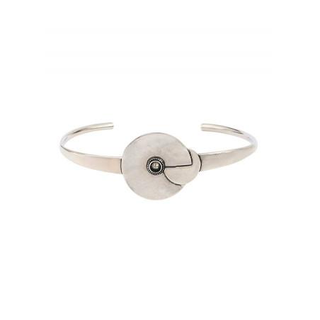 Bracelet jonc moderne métal et cristal   argenté