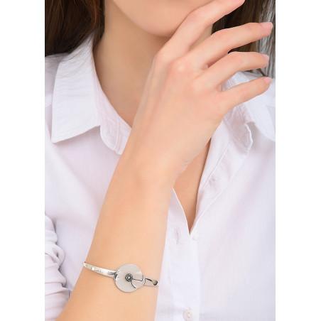 Bracelet jonc moderne métal et cristal   argenté84040