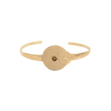 Bracelet jonc élégant métal et cristal | doré