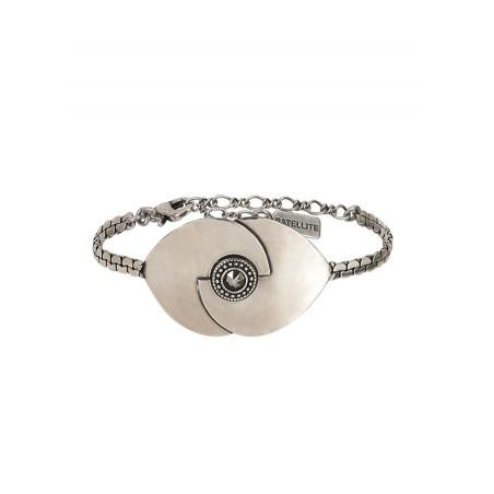 Bracelet souple moderne métal et cristal | argenté