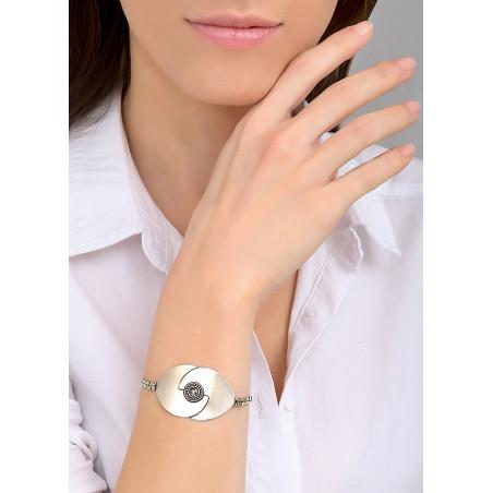Bracelet souple moderne métal et cristal | argenté84050
