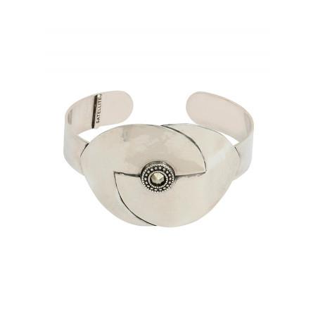 Bracelet manchette mode métal et cristal   argenté