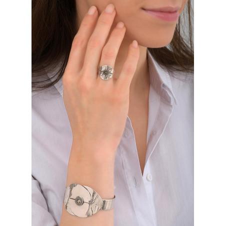 Bracelet manchette mode métal et cristal   argenté84060