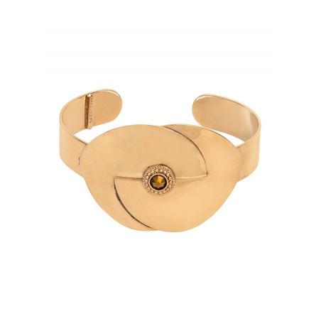 Bracelet manchette glamour métal et cristal   doré