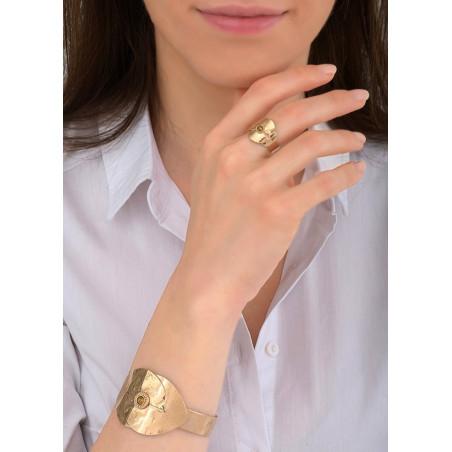 Bracelet manchette glamour métal et cristal   doré84065