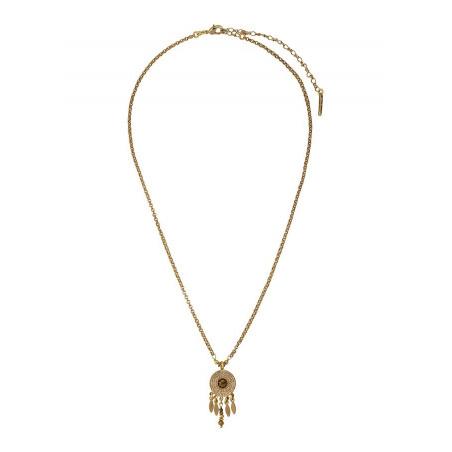 Collier pendentif féminin métal et cristal | doré