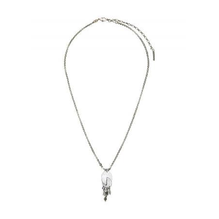 Collier pendentif graphique métal et pyrite | argenté