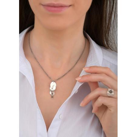 Collier pendentif graphique métal et pyrite | argenté84080