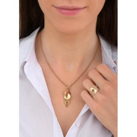 Collier pendentif raffiné métal et hématite   doré84085