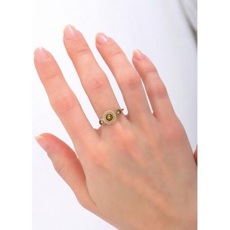 Bague étincelante métal et cristaux | doré84150