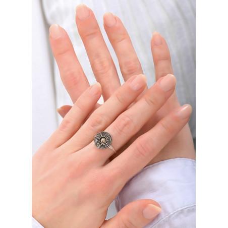 Bague féminine métal et cristal   argenté84155