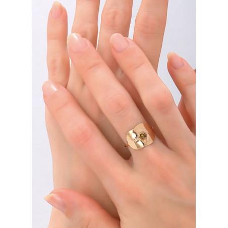 Bague moderne métal et cristal | doré84175