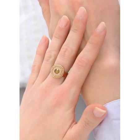 Bague sophistiquée métal et cristal   doré84185