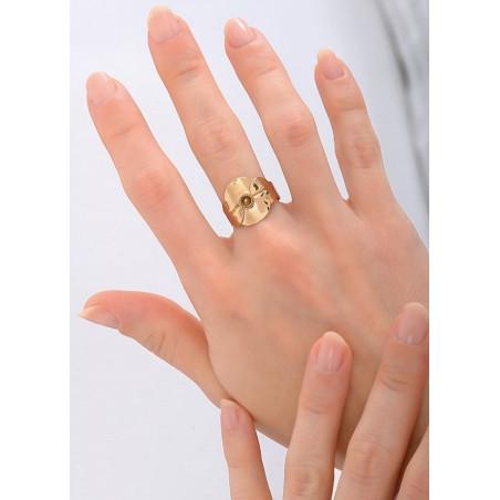 Bague tendance métal et cristal | doré84195