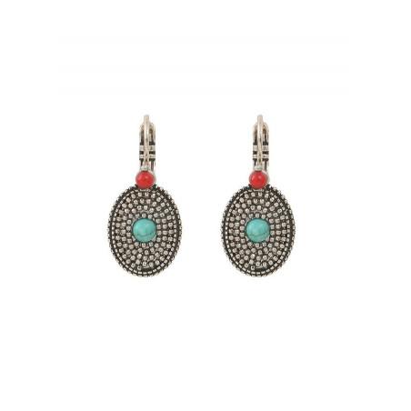 Boucles d'oreilles dormeuses féminines métal et jaspe | turquoise