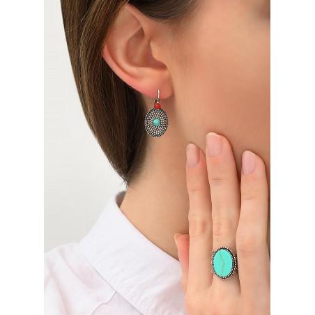 Boucles d'oreilles dormeuses féminines métal et jaspe | turquoise84210