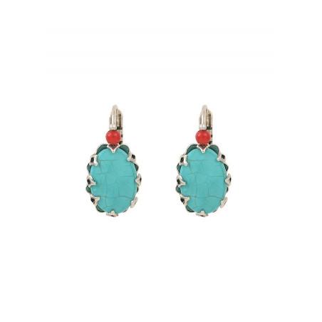 Boucles d'oreilles dormeuses ethniques métal et howlite | turquoise