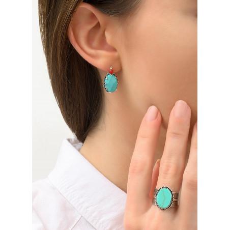 Boucles d'oreilles dormeuses ethniques métal et howlite | turquoise84225