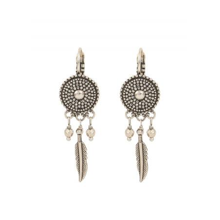 Boucles d'oreilles dormeuses poétiques métal | argenté