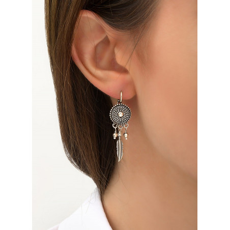 Boucles d'oreilles dormeuses poétiques métal | argenté84230