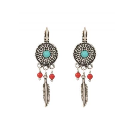 Boucles d'oreilles dormeuses aériennes métal et jaspe | turquoise