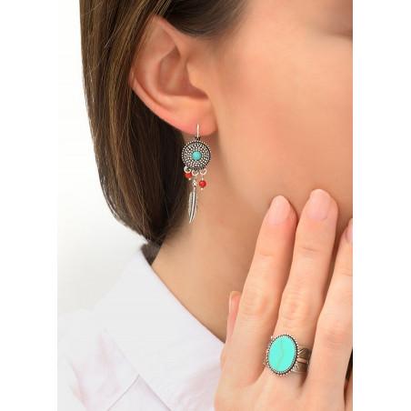 Boucles d'oreilles dormeuses aériennes métal et jaspe | turquoise84240