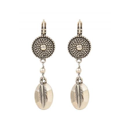Boucles d'oreilles dormeuses fantaisie métal | argenté