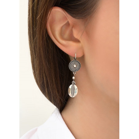 Boucles d'oreilles dormeuses fantaisie métal | argenté84245