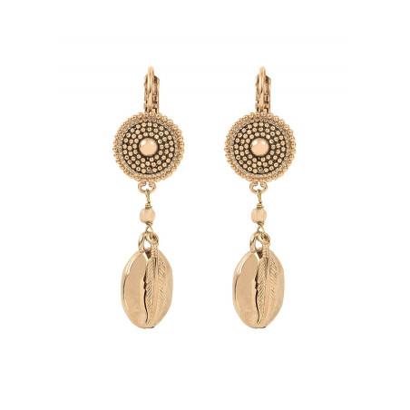 Boucles d'oreilles dormeuses authentiques métal   doré