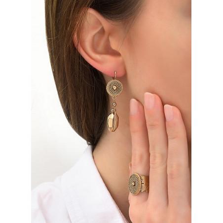 Boucles d'oreilles dormeuses authentiques métal   doré84250