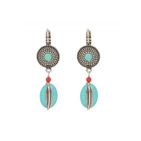 Boucles d'oreilles dormeuses mode métal jaspe et howlite   turquoise